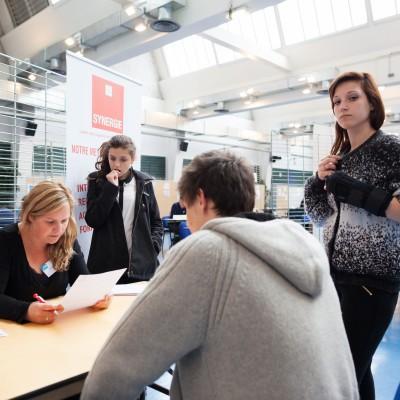 France, Thonon les Bains. Salle polyvalente : Espace Tully lors du forum des jobs d'été